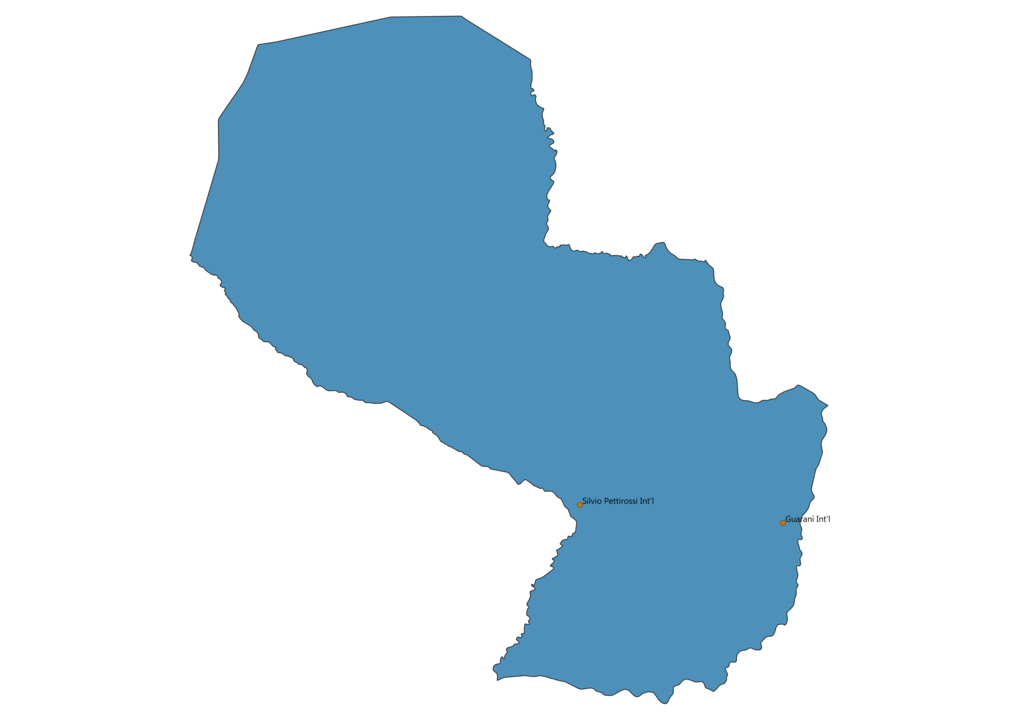 Map of Airports in Paraguay