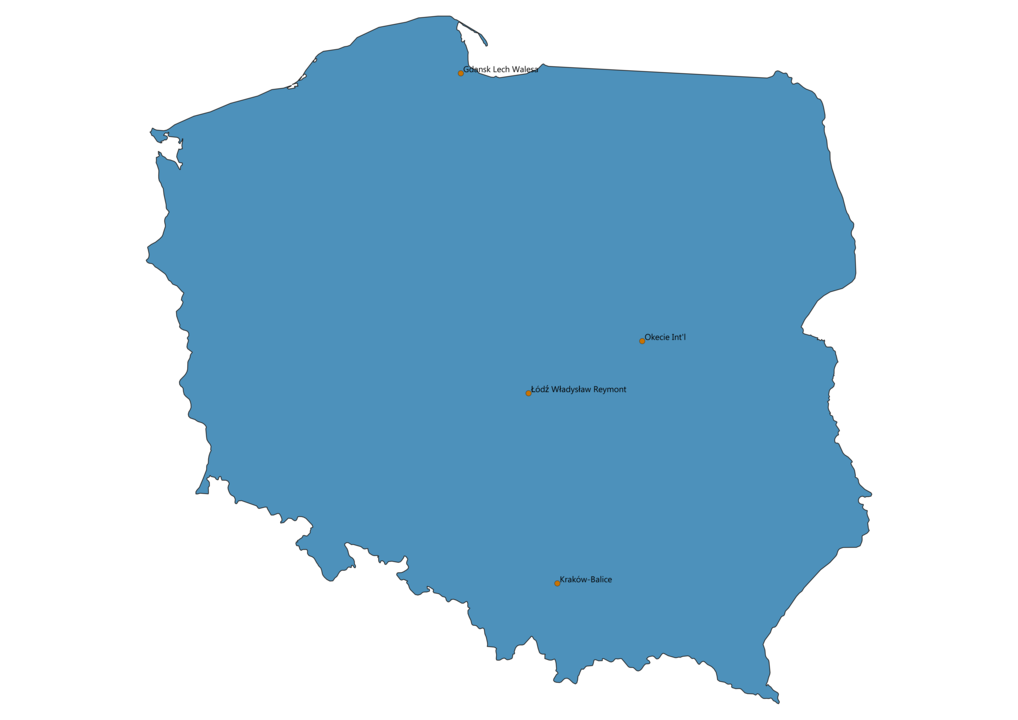 Map of Airports in Poland