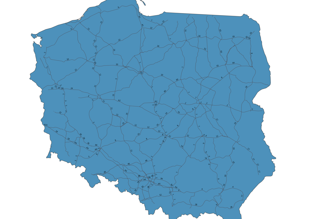Map of Roads in Poland