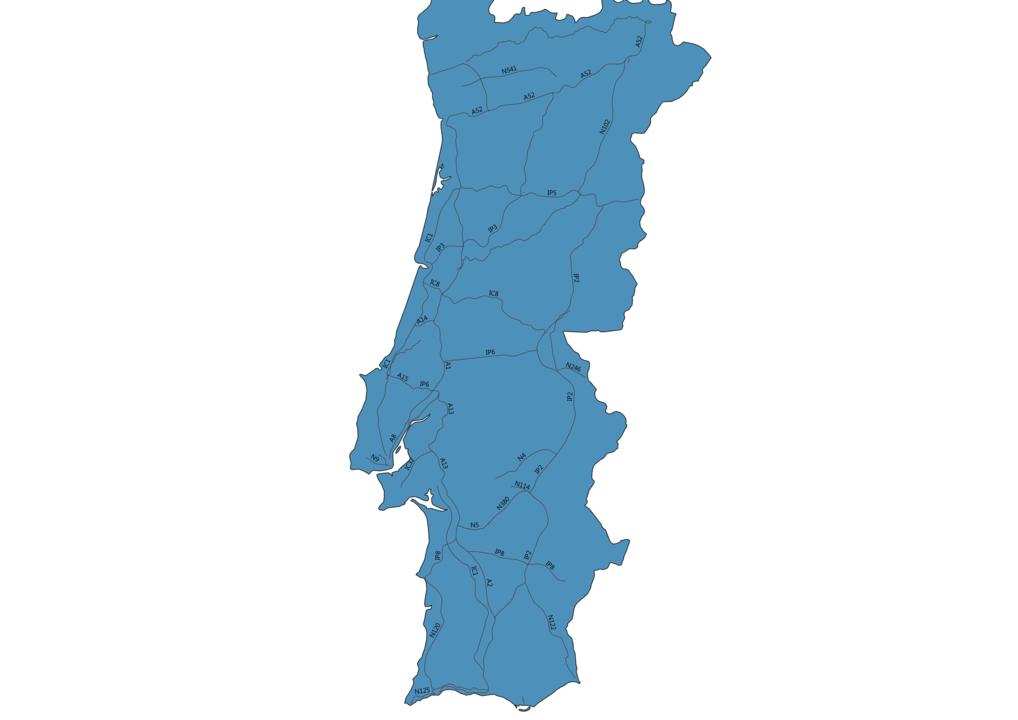 Map of Roads in Portugal