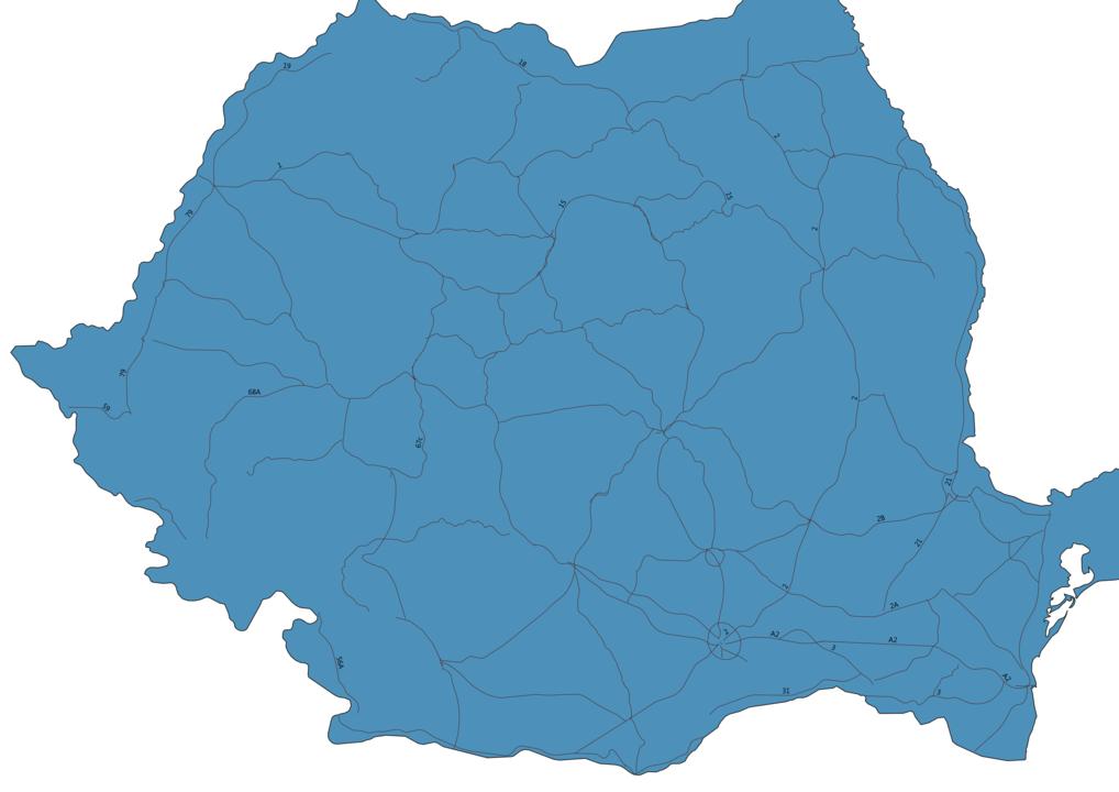 Map of Roads in Romania
