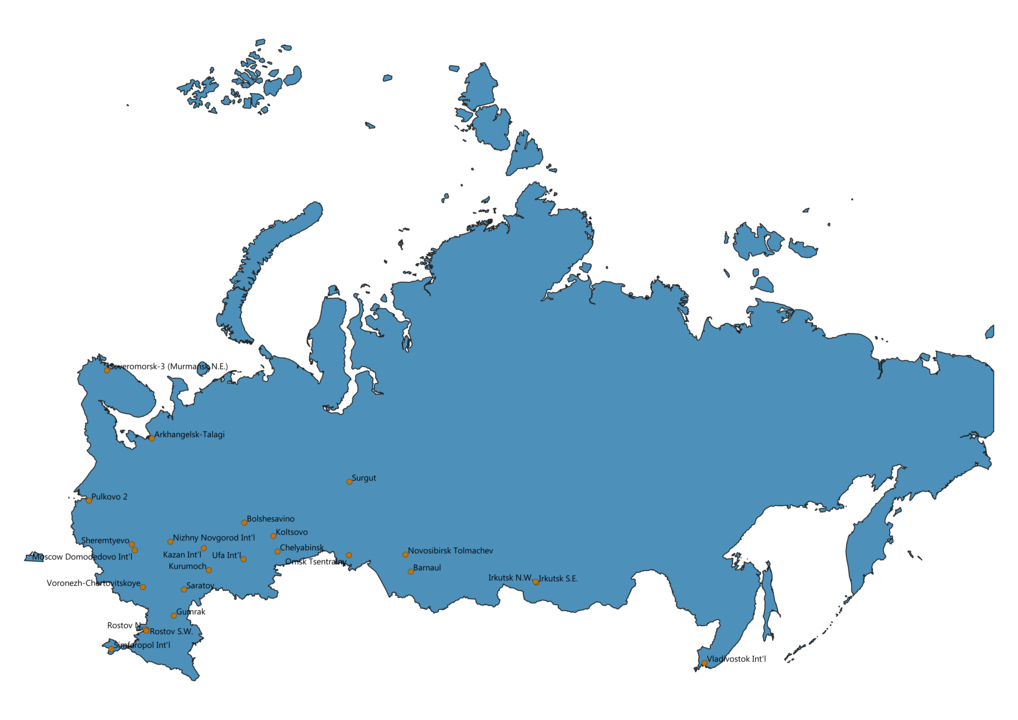 Map of Airports in Russia