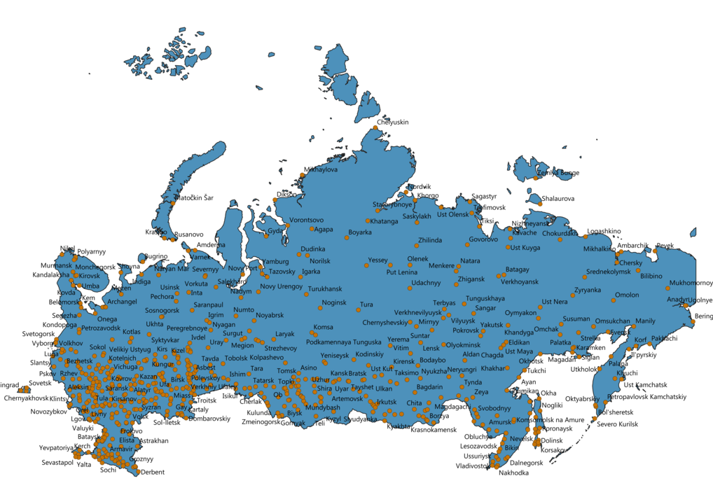 Russia Cities Map