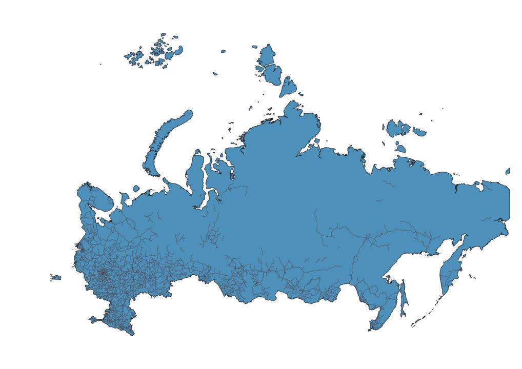 Map of Roads in Russia