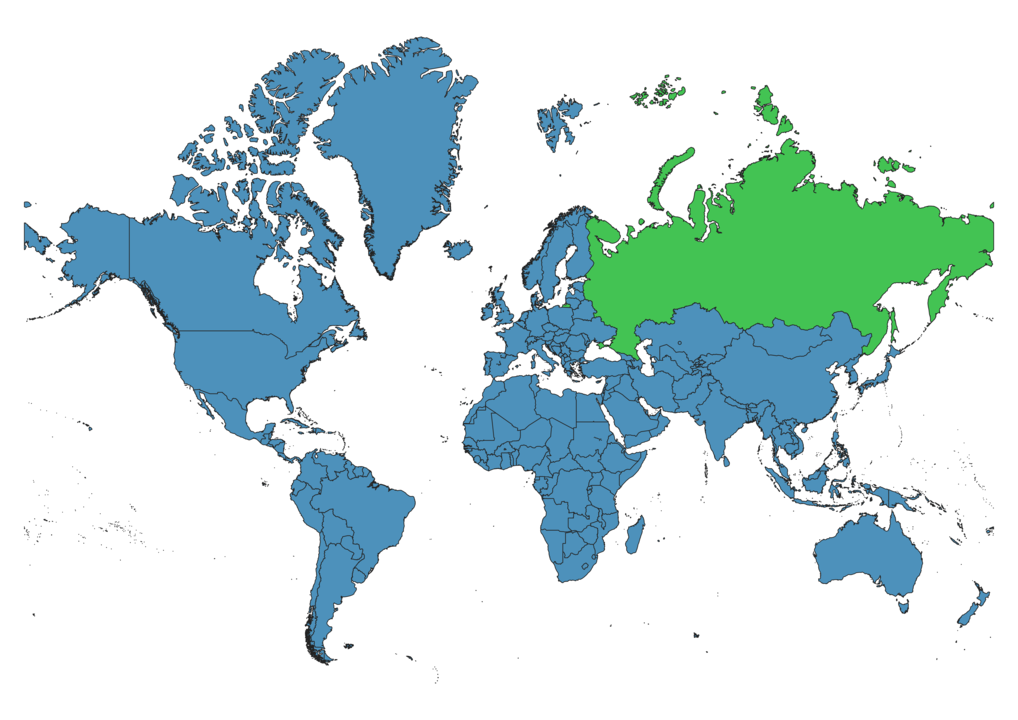 Russia Location on Global Map