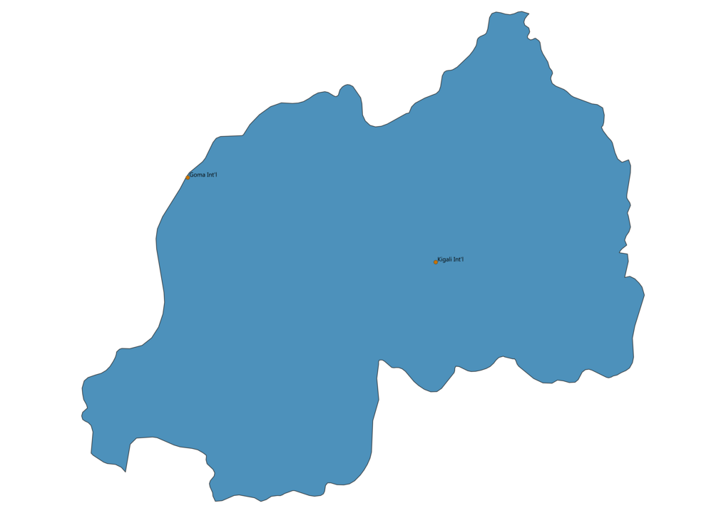 Map of Airports in Rwanda