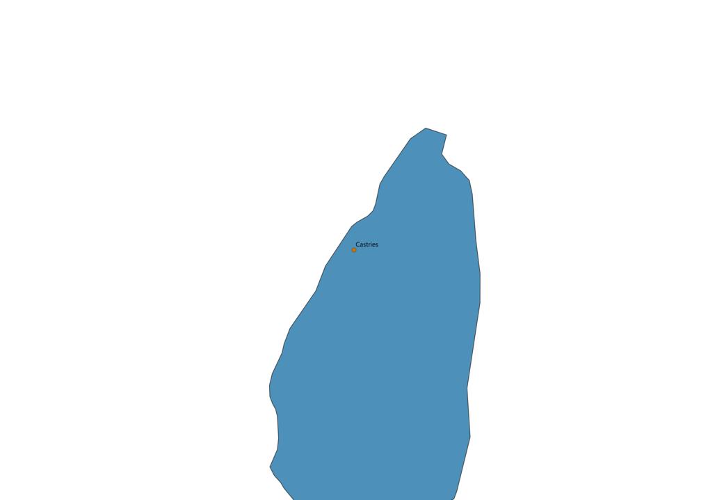 Saint Lucia Cities Map