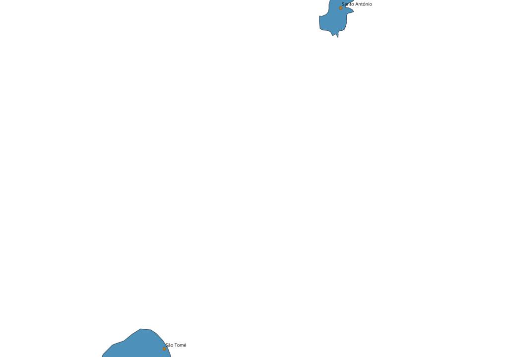 Sao Tome and Principe Cities Map
