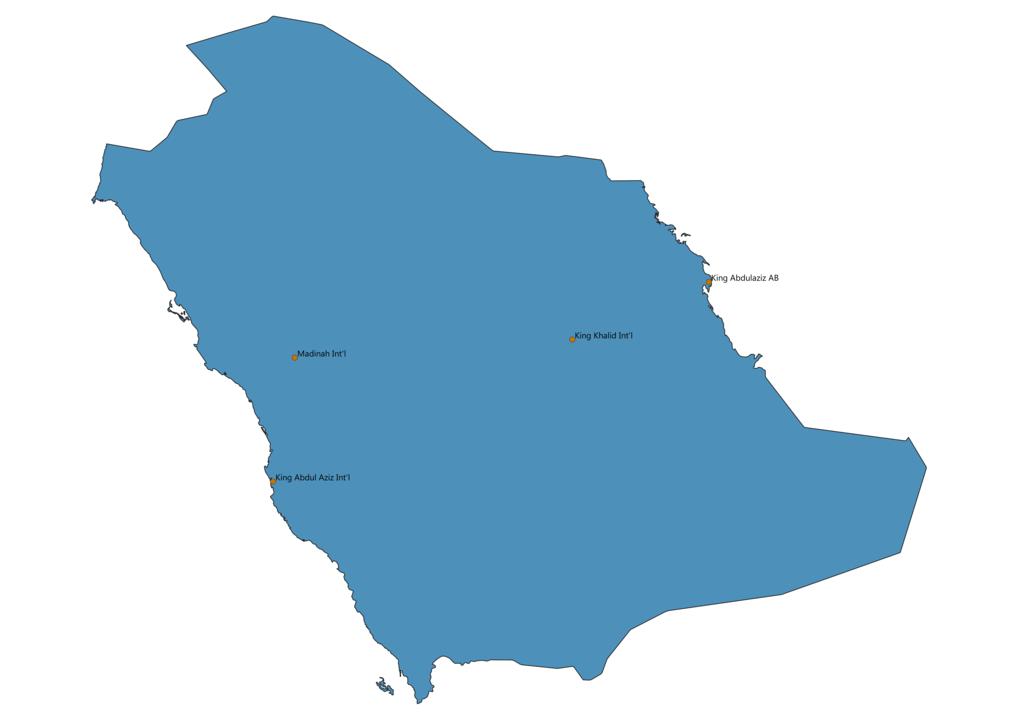 Map of Airports in Saudi Arabia