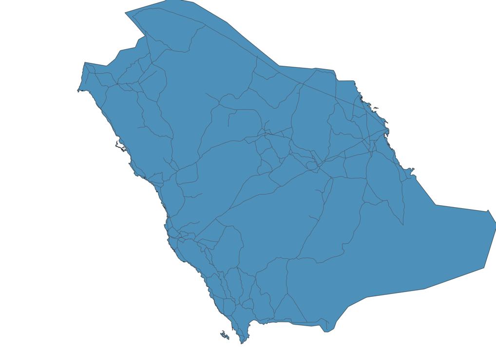 Map of Roads in Saudi Arabia