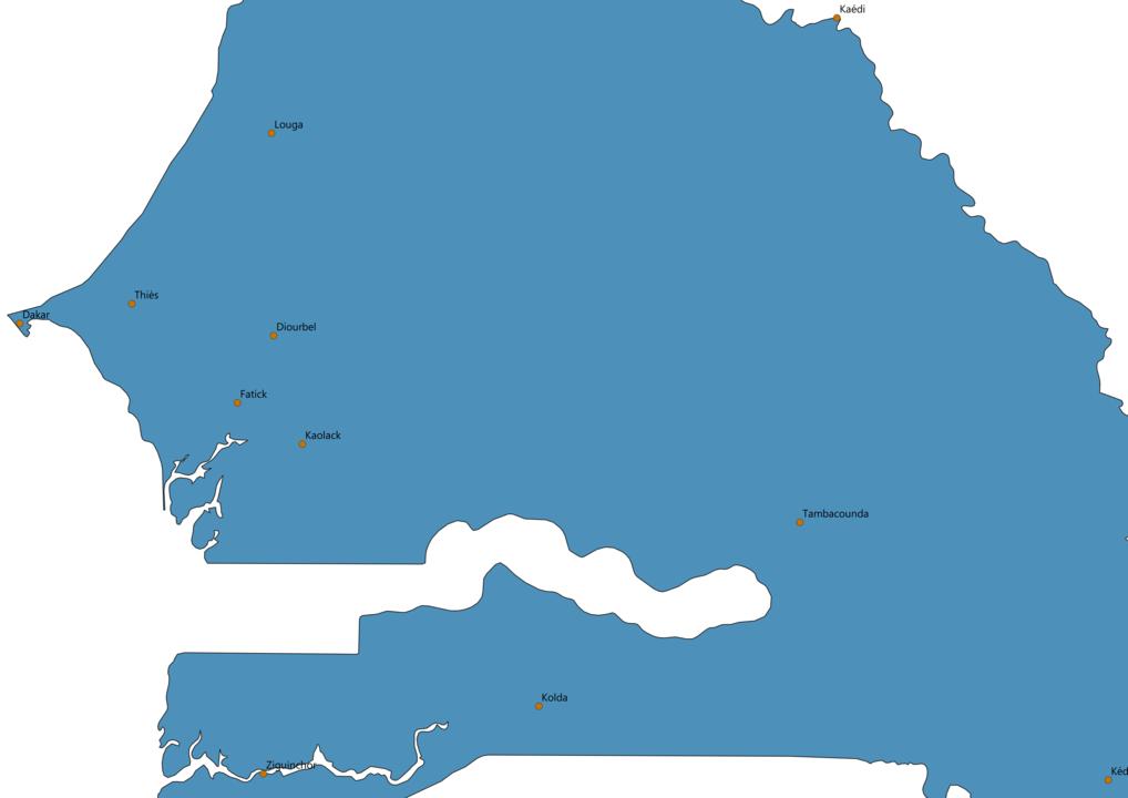 Senegal Cities Map