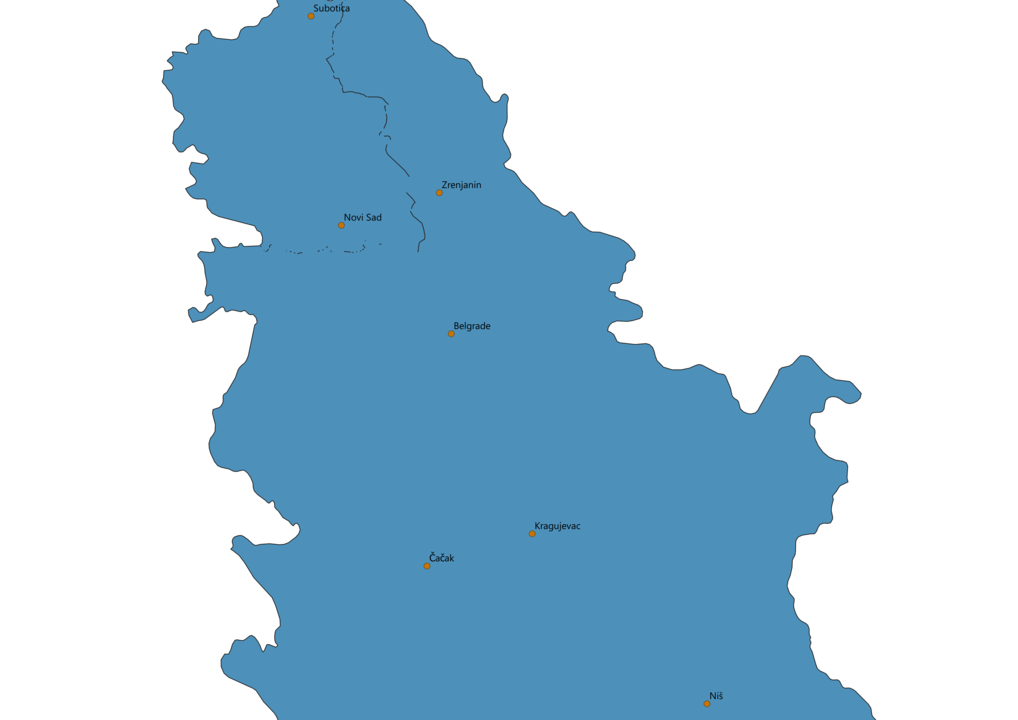 Serbia Cities Map