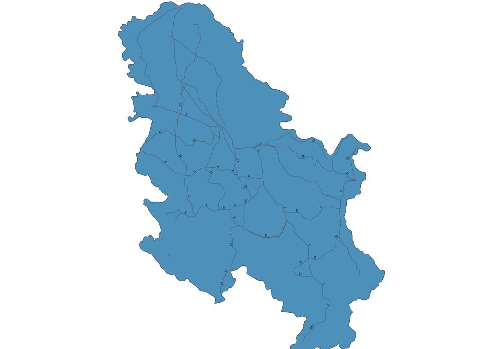 Map of Roads in Serbia