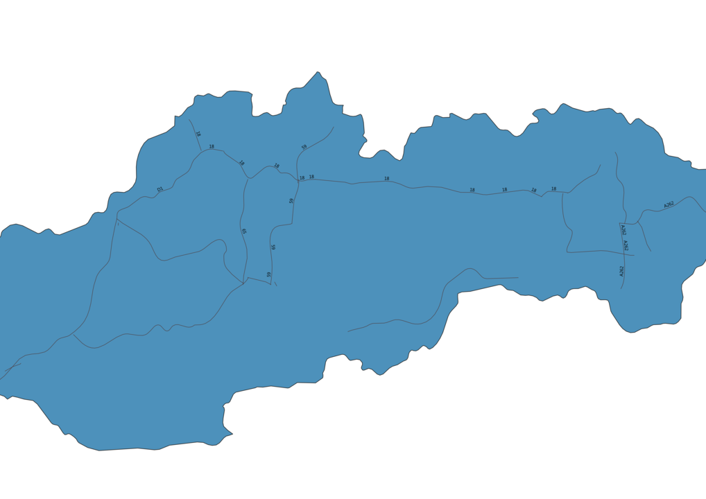 Map of Roads in Slovakia