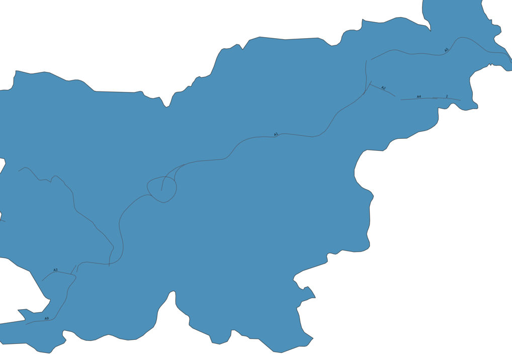 Map of Roads in Slovenia