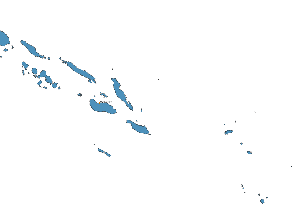 Map of Airports in Solomon Islands