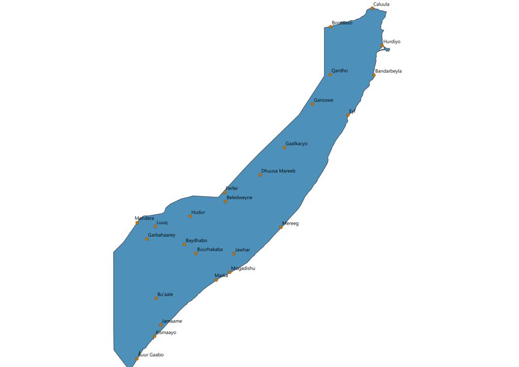 Somalia Cities Map