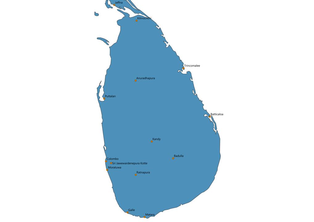Sri Lanka Cities Map