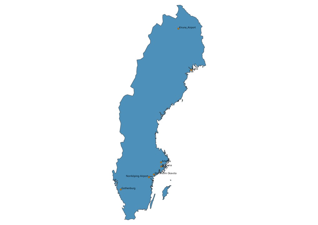 Map of Airports in Sweden