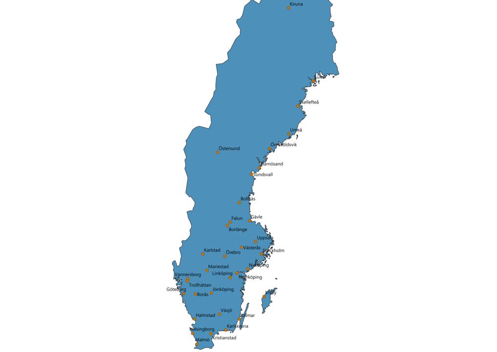 Sweden Cities Map