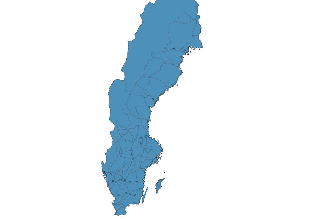 Map of Roads in Sweden