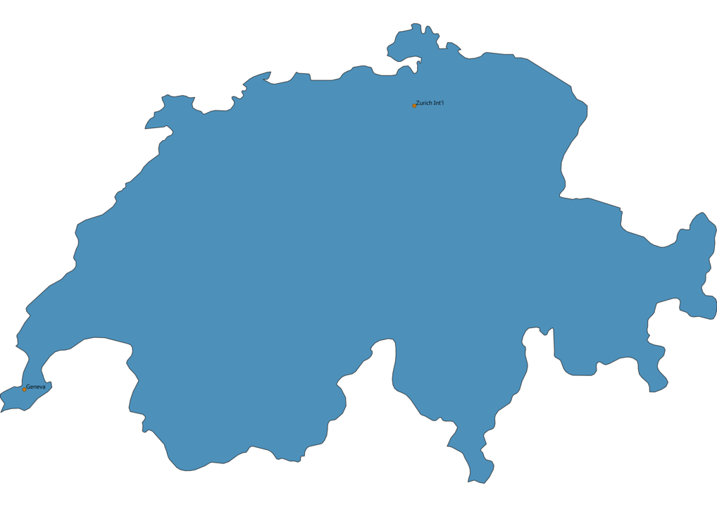 Map of Airports in Switzerland