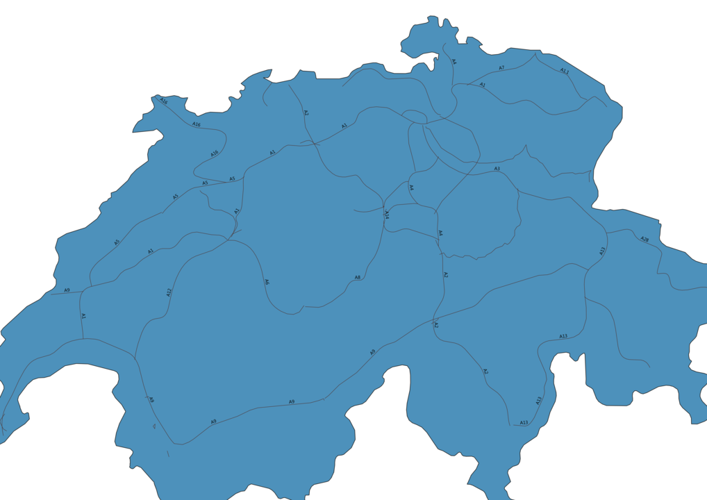 Map of Roads in Switzerland