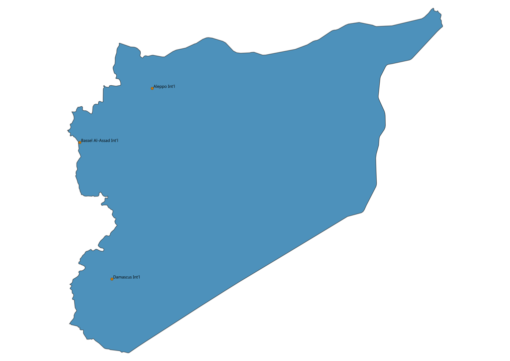 Map of Airports in Syria