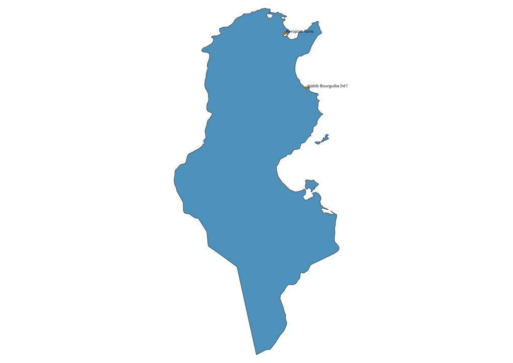 Map of Airports in Tunisia