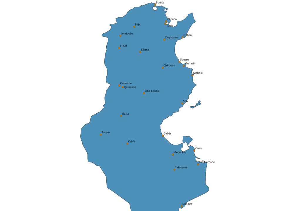 Tunisia Cities Map