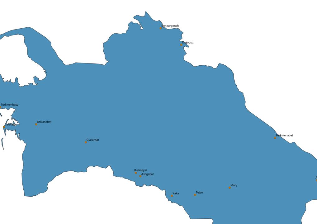 Turkmenistan Cities Map