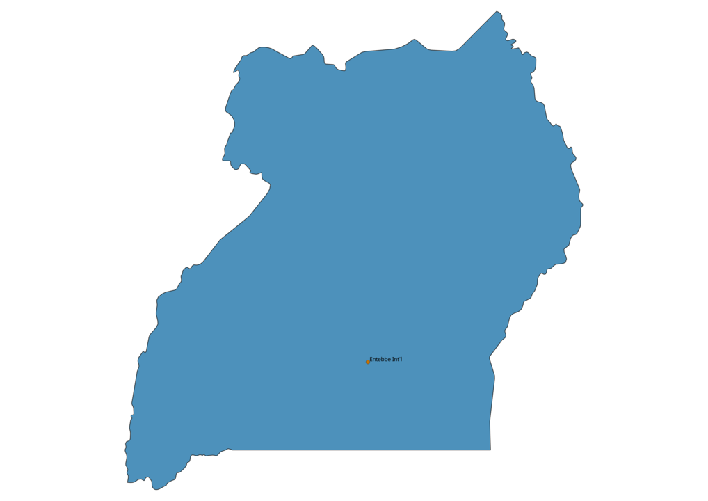 Map of Airports in Uganda