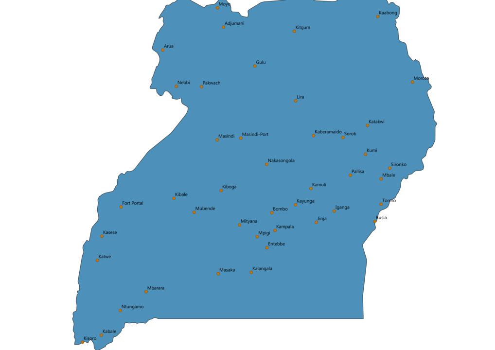Uganda Cities Map