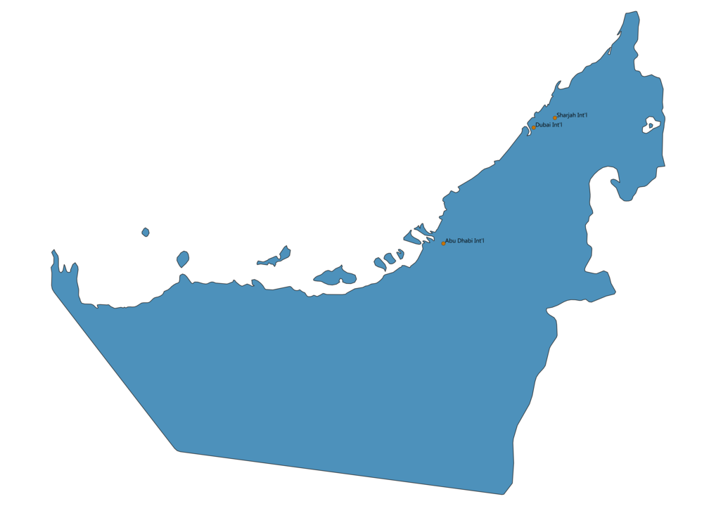 Map of Airports in United Arab Emirates