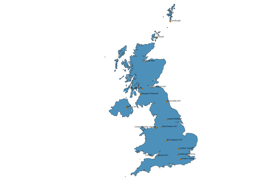 Map of Airports in United Kingdom