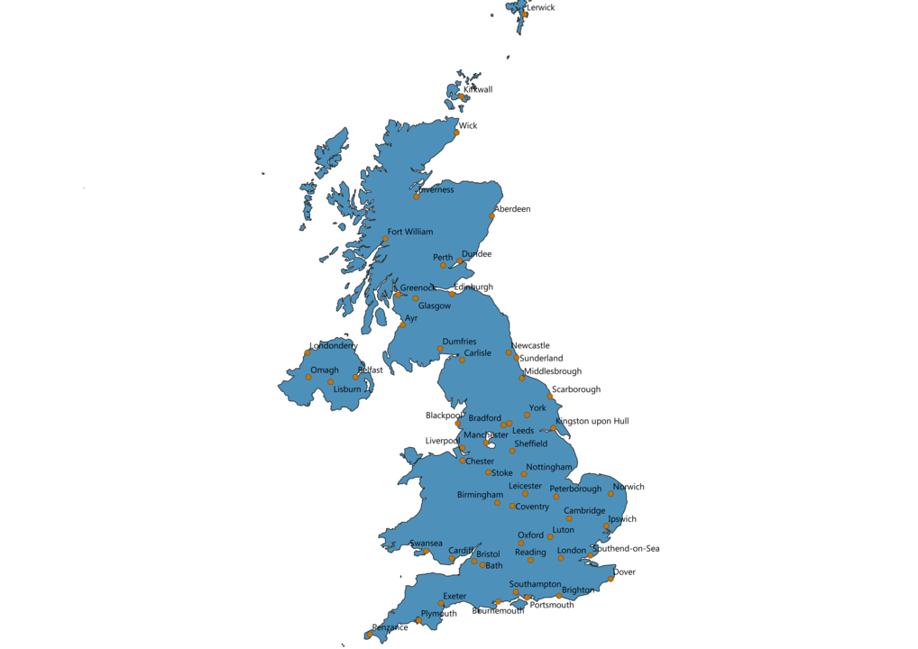 United Kingdom Cities Map