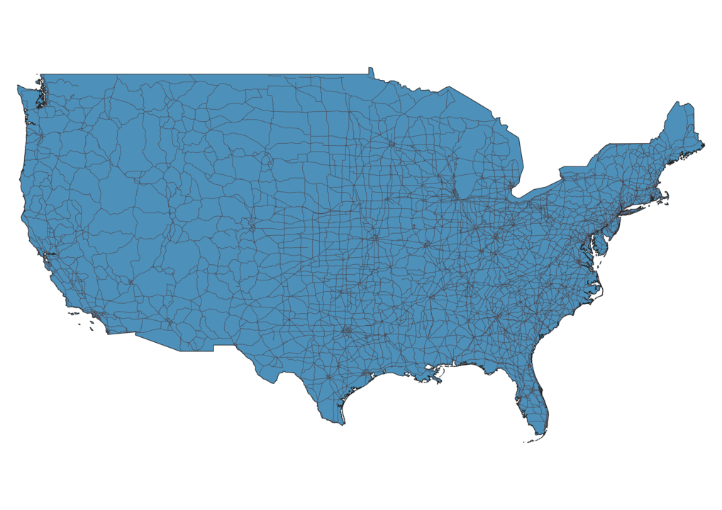 Map of Roads in United States