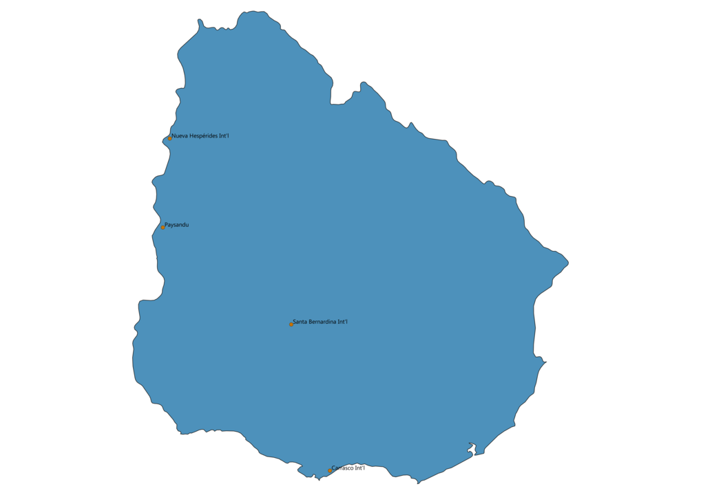 Map of Airports in Uruguay