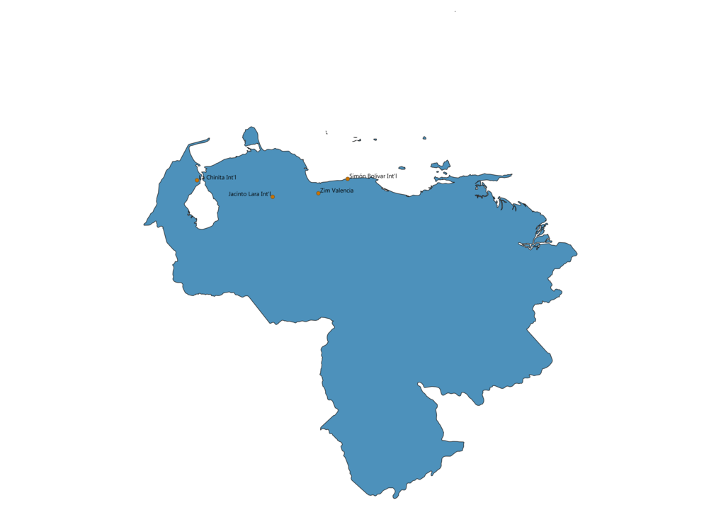 Map of Airports in Venezuela