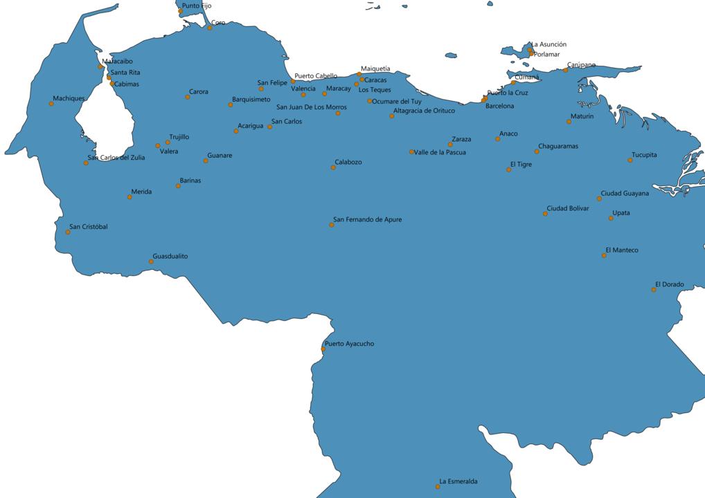 Venezuela Cities Map