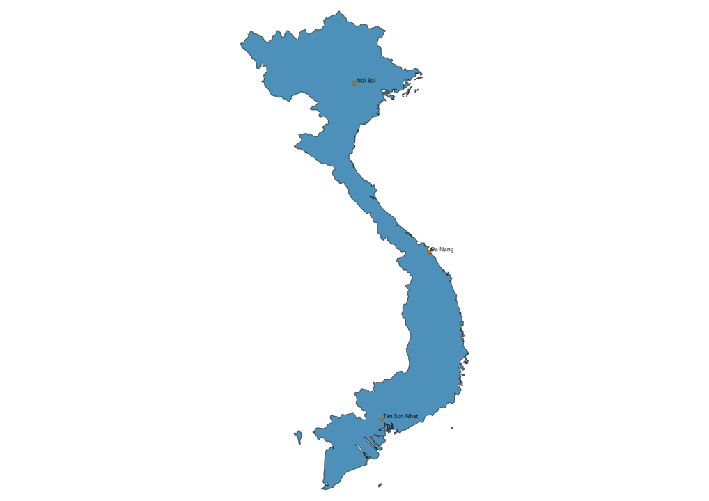 Map of Airports in Vietnam