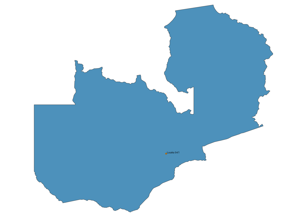 Map of Airports in Zambia