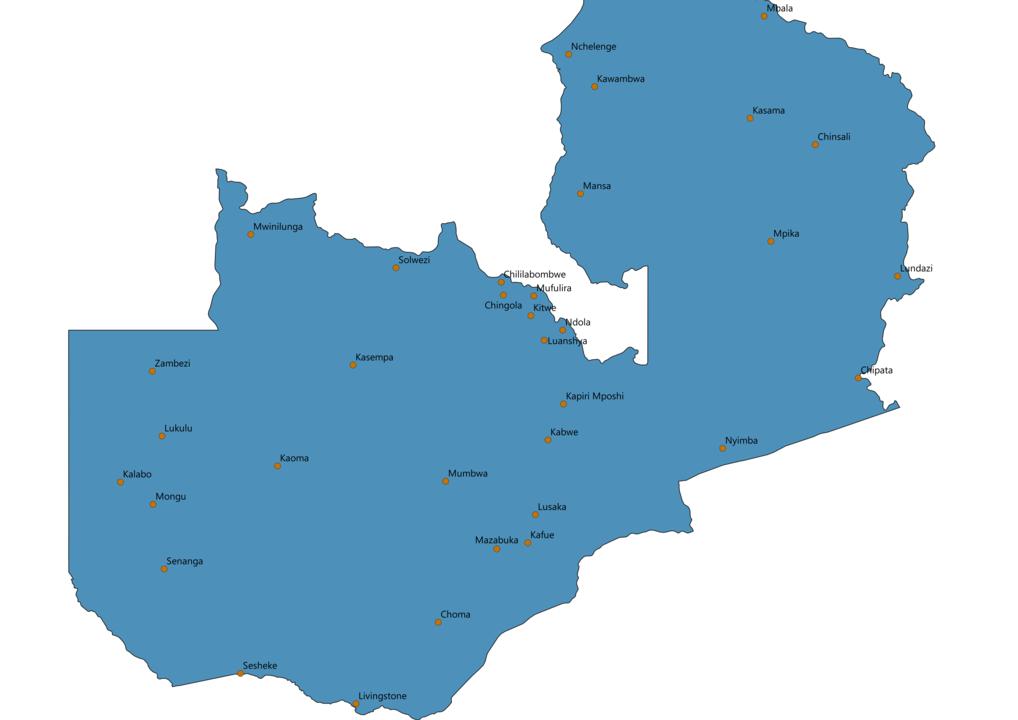 Zambia Cities Map