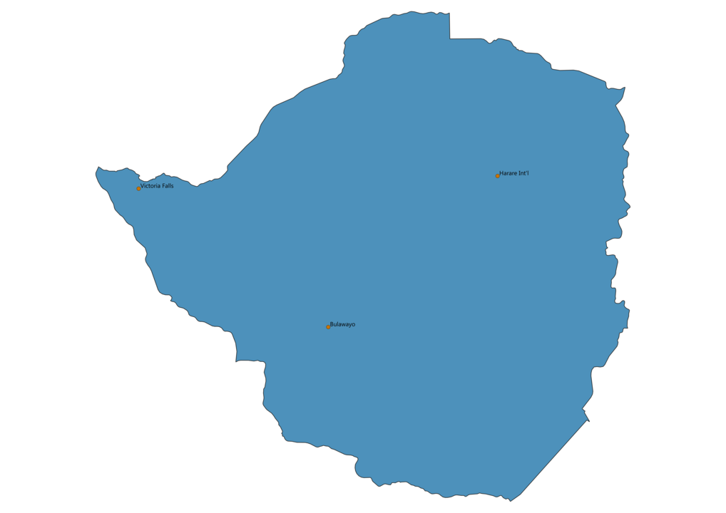 Map of Airports in Zimbabwe