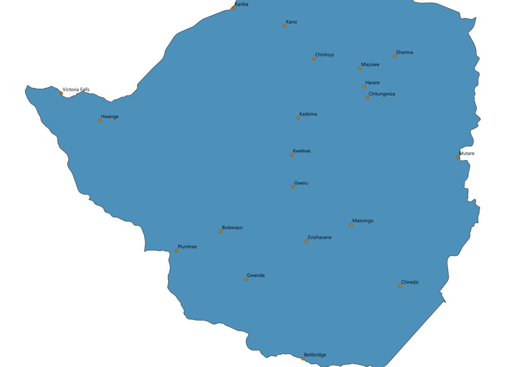 Zimbabwe Cities Map